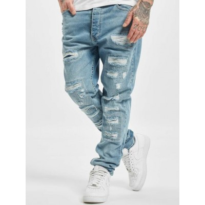 DEF Men Straight Fit Jeans Carl in blue cotton 3% spandex Ships Free LQVCA164