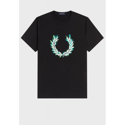 Fred Perry Men black Graphic Crew Neck T-Shirt DLPR47433