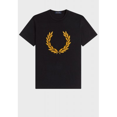 Fred Perry Men black Graphic Crew Neck T-Shirt YMK9Z2682